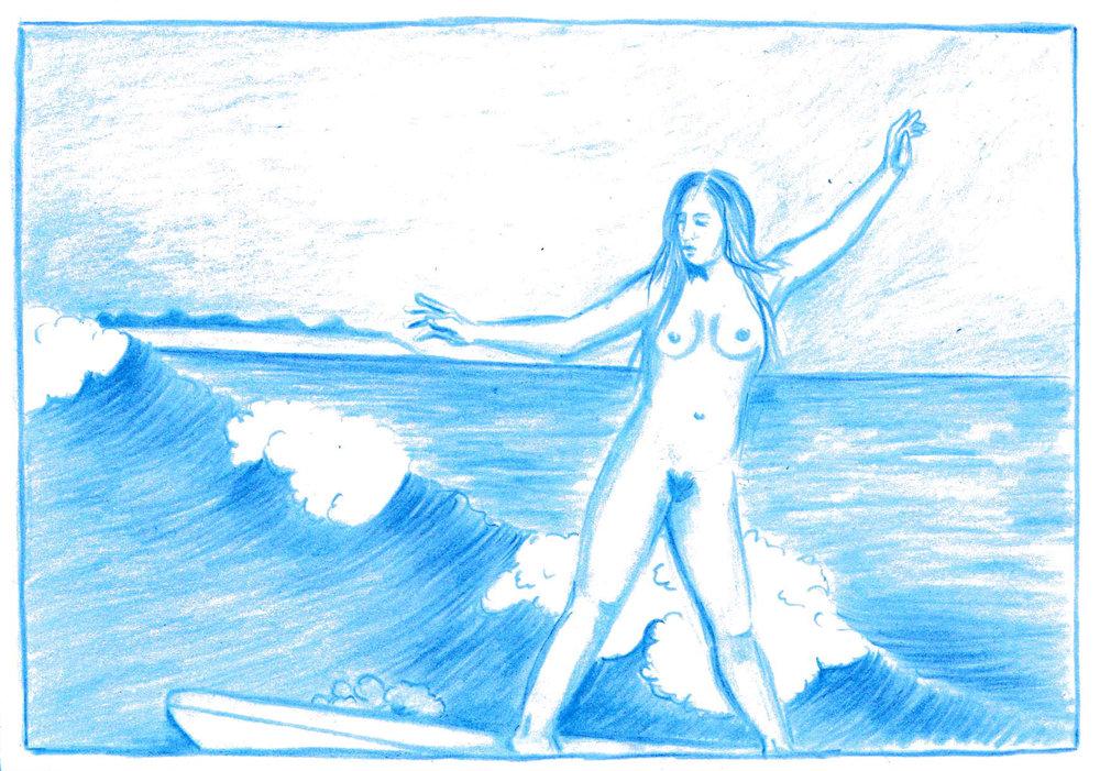 Olivier Millagou,  Emma, Cap Saint-Louis , 2017. Crayon sur carte postale, 10,5 cm x 14,8 cm