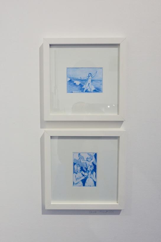 Vue d'ensemble des oeuvres au crayon sur carte postale d'Olivier Millagou (de h. en b. :  Emma, Cap Saint-Louis , 10,5 cm x 14,8 cm,  Anne-Sophie, Héléna et Mookie , 10,5 cm x 14,8 cm), 2017