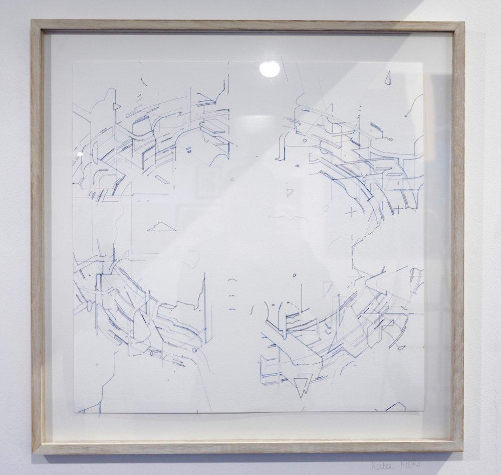 Keita Mori,  Bug report (Circuit) , 2017. Fils de coton et fils de soie sur papier, 50 cm x 50 cm