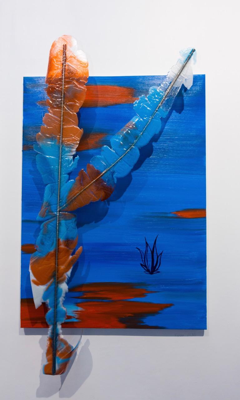 Romain Vicari,  Interra , 2017. Huile sur toile, acier, résine, colorants, 100 cm x 73 cm