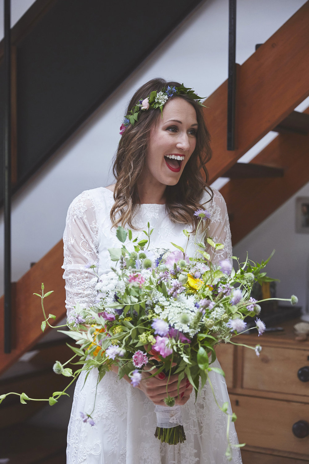 Brides bouquet and flower crown by Tatterfly using all seasonal cut and wild flowers grown at High Ash Farm