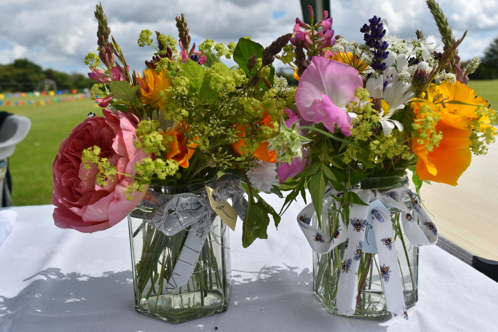 Jam jar posies using seasonal flowers from the cutting garden at High Ash Farm