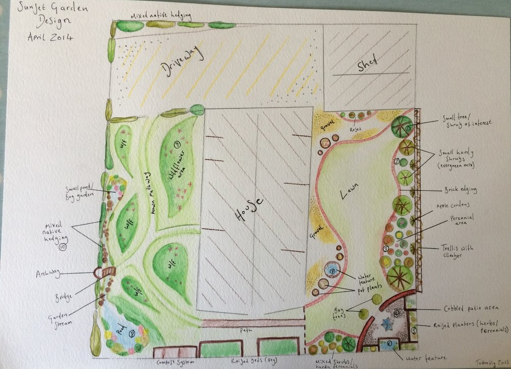 Full garden design in Mangreen, Norfolk including wildflower meadow lawn, wildlife friendly border planting and vegetable beds.