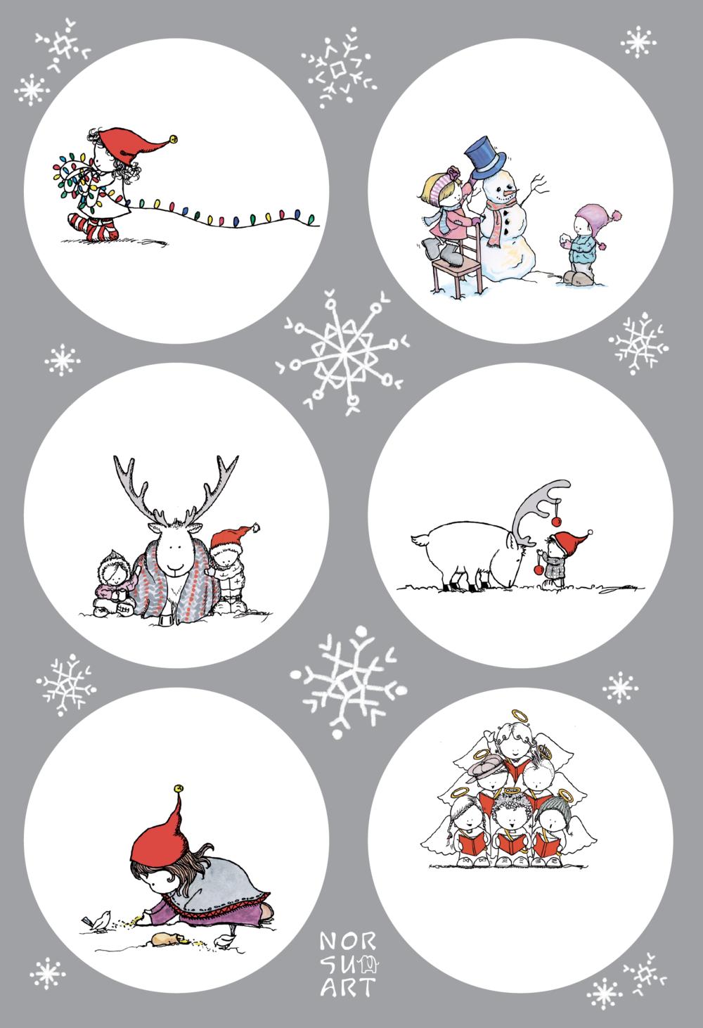 Joulupakettiin - Näillä paperisilla joulupakettitarroilla saa sympaattisen ilmeen kaikenkokoisille lahjoille.12 kpl, 6 eri malliaTarran halkaisija 60 mmPainettu Suomessa