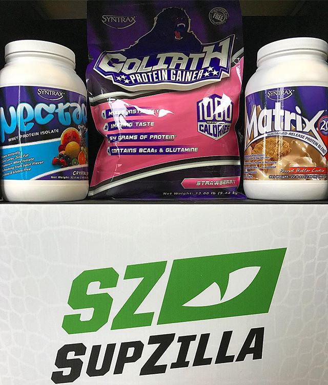 "SupZilla Nation! This week's Stack of the Week is a Syntrax special!!! All SupZilla locations will be running a 15% deal on GOLIATH clean mass gainer, MATRIX blend protein and NECTAR Whey isolate today through Saturday, and any purchase of Syntrax will receive FREE SAMPLES while supplies last!!! Stop in to any of our 10 SupZilla locations and take advantage of this awesome Syntrax Stack of the Week today!!! ...""Come get a scoop!"" @syntraxsupplements #beastmode #bodybuilding #comegetascoop #family #fit #fitness #fitfam #fitlife #goals #healthy #Indiana #inspiration #lifestyle #motivation #nutrition #Ohio #strength #SupZilla #SupZillaFit #SupZillaHer #SupZillaNation #SupZillafamily #SupZillagreen #SupZillastrong #SupZillatakeover #SupZilla4life #supplements #training #weightloss #workout"