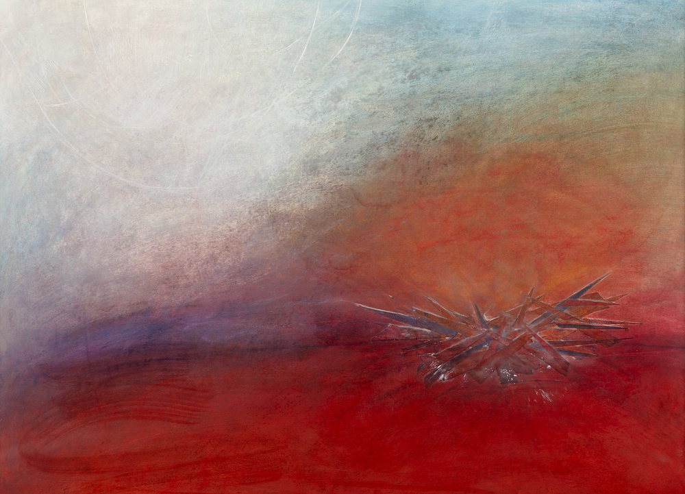 """COMING HOME.  mixed media with encaustic 33""""w x 25""""h"""