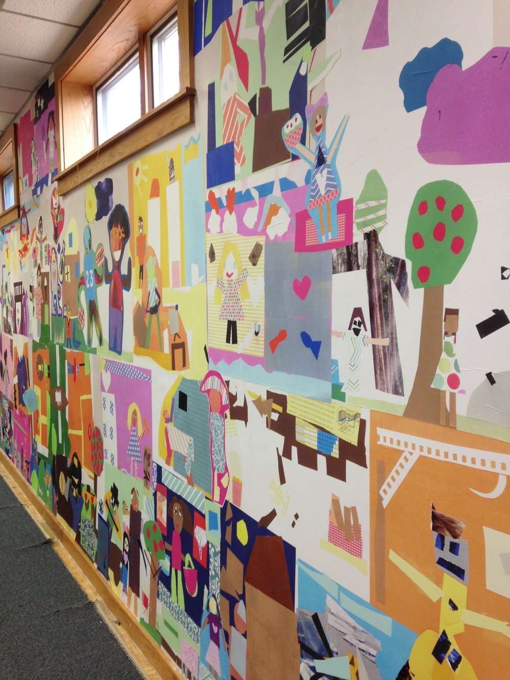 40' wall collage installation / residency collaboration with elementary school 2nd graders at Claxton Elementary School in Asheville