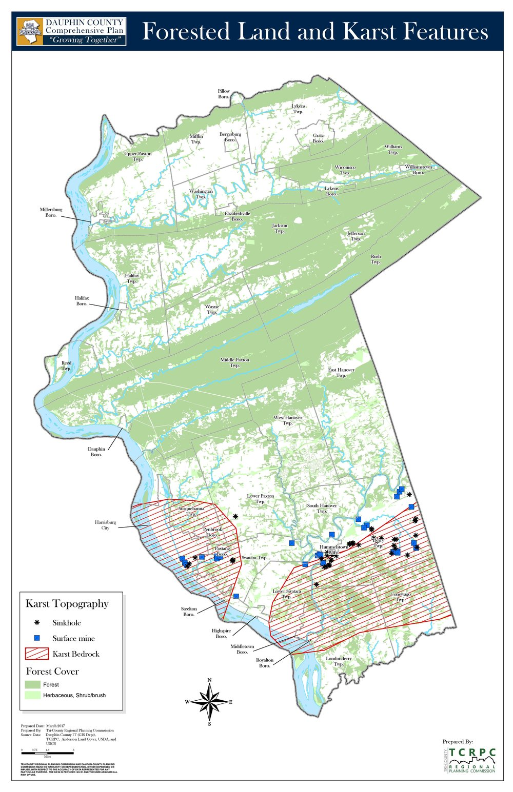 Forested Land & Karst Features   Click for interactive map