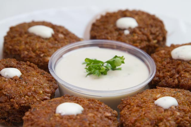 Our Falalfel is %100 vegeterian and fried in vegetable oil. It is a vegetarian delicacy with an exquisite taste!