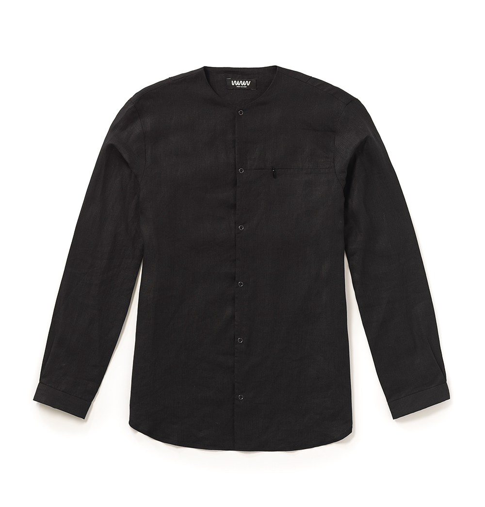 Black Collarless Popper Shirt