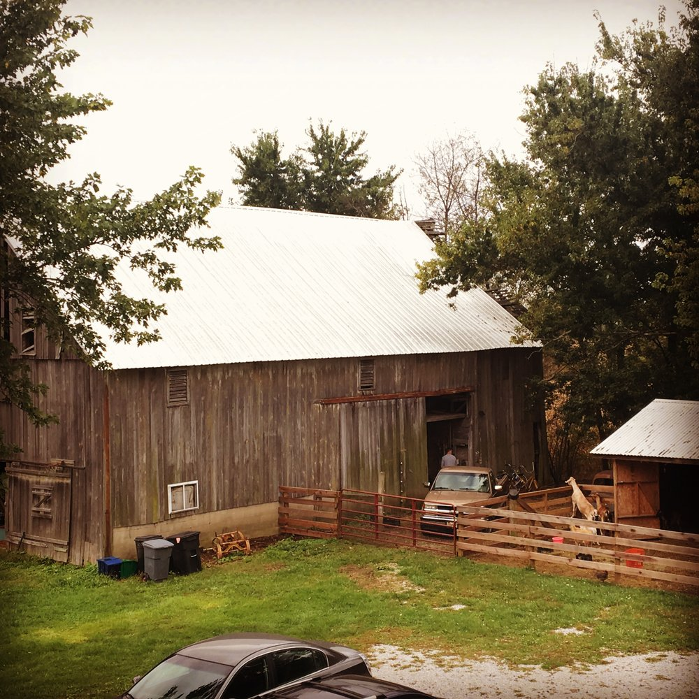 The barn, currently undergoing renovation.