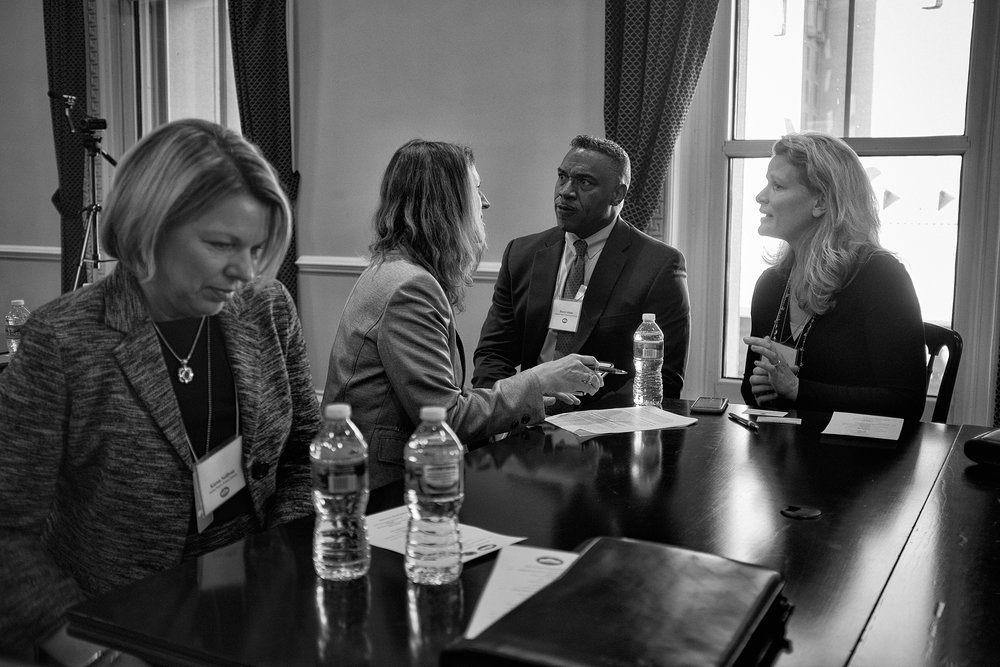 Superintendents of several exemplary districts in discussion at the White House during to a Future Ready Learning event in December 2015