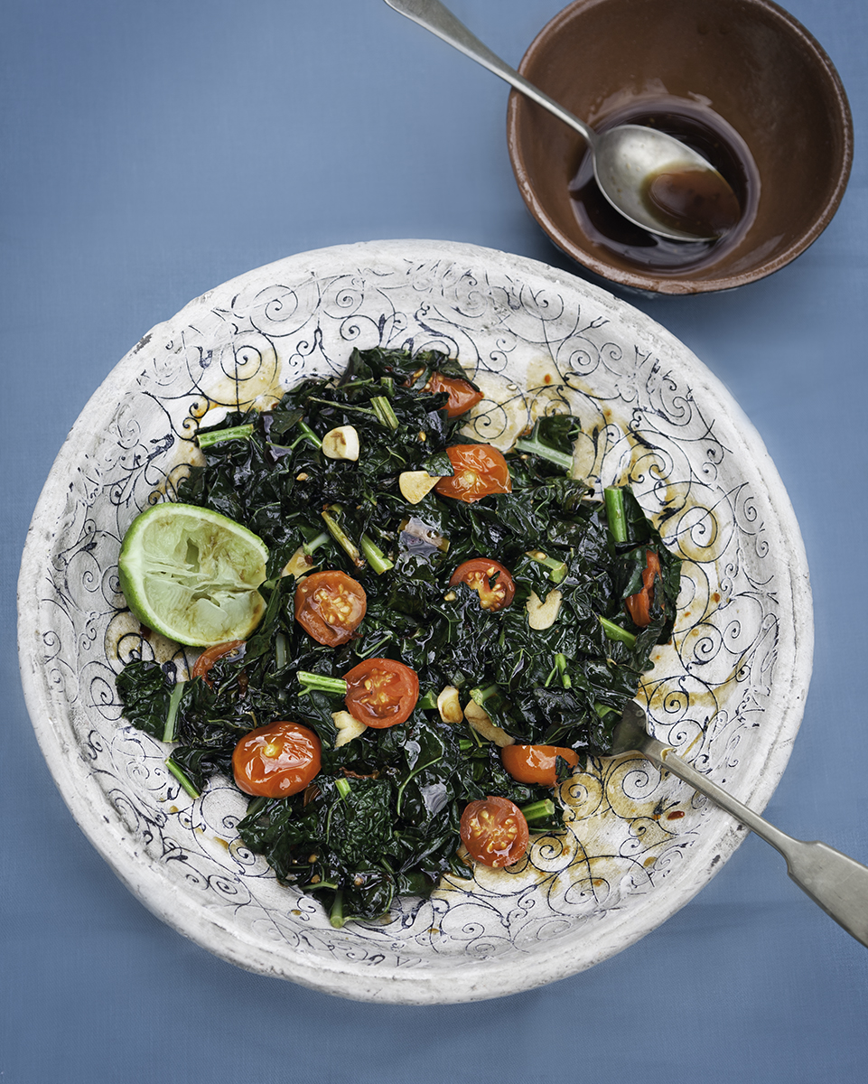 You Might Also Like - Shredded Kale with Cherry Tomatoes & Tamari Dressing
