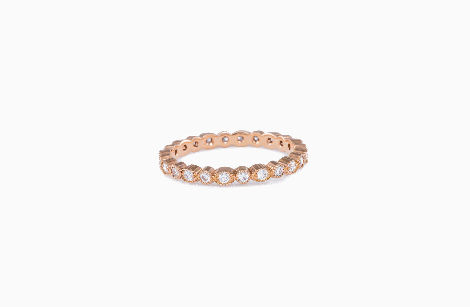 Petite Stacking Ring Diamond And Rose Gold Aspen Jewelry