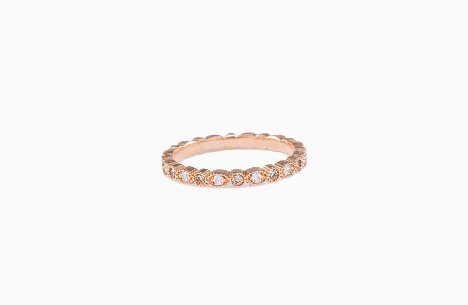 Petite Stacking Ring Champagne Diamond And Rose Gold Aspen