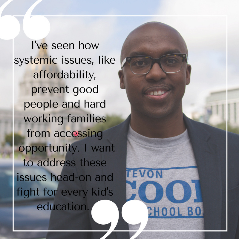 We can't expect to keep our teachers if they are commuting from Oakland and sleeping on someone's couch because they can't afford to live in San Francisco. As San Francisco Board of Education Commissioner, I will address the affordability crisis and get housing packages for teachers. #sc4sb