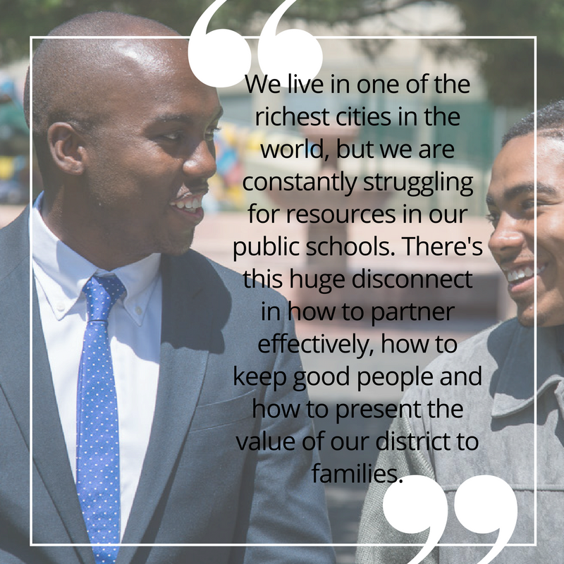 Families shouldn't have to feel like they are compromising their children's future by sending them to our schools. Our kids deserve better. As SF Board of Education commissioner, I will work to recruit exceptional teachers and utilize city resources to interrupt generational poverty. #sc4sb