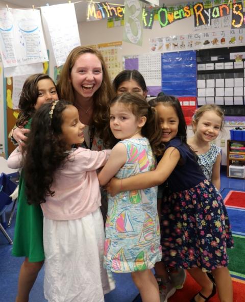 Caroline Sweeney at East Elementary School in New Canaan. Photo by Emma Barker