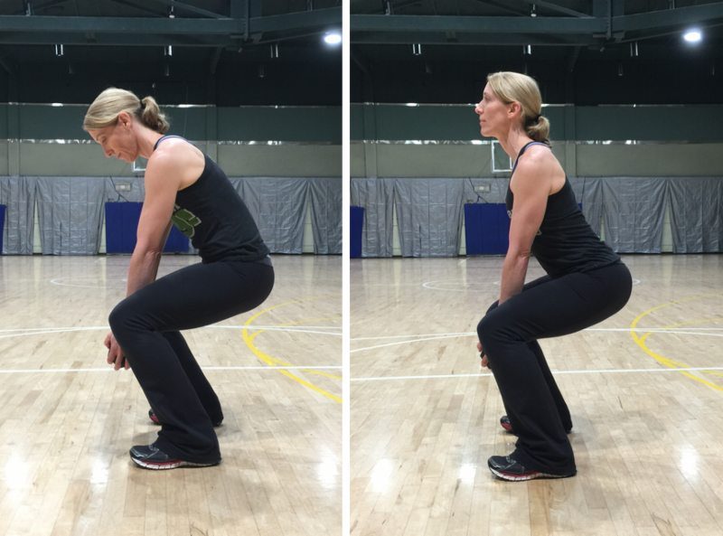 When you do lunges or squats, look straight ahead rather than down at the floor.