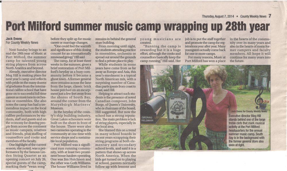 Music at Port Milford County Weekly News Press 2014