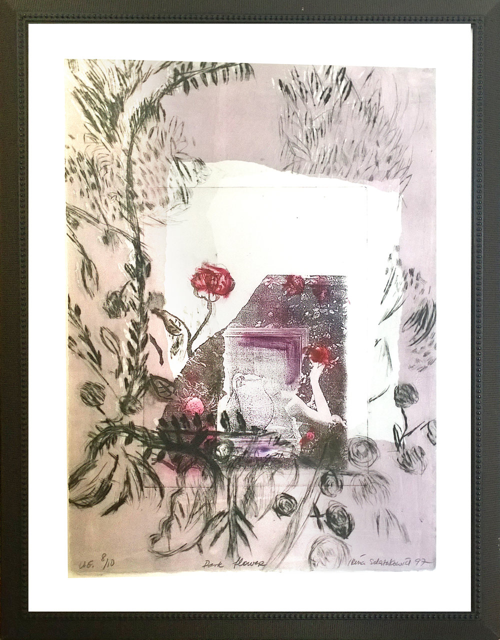 "Dark Flower - Artist: Irina SchestakowichMedium: drypoint monoprint 8/10Size: 20""x26""Value: $800Starting Bid: $350Irina Schestakowich spent her childhood in Montreal and has been in Toronto since the 1980's. Irina graduated from the University of Victoria, BC in Fine Arts. She specialized in printmaking and early classical Buddhist imagery. She is an active member of Open Studio.http://store.openstudio.on.ca/irina-schestakowich-s/1976.htm"