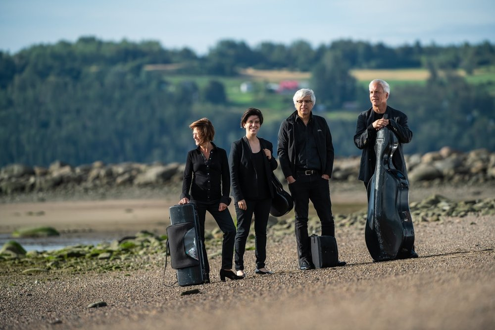 """The Quartuor Saguenay formerly the Alcan Quartet), has developed a reputation for excellence throughout Canada and internationally since its formation over twenty years ago. The quartets originality, contagious enthusiasm, unique sonority, and remarkable cohesion have all contributed to its long term success. Critics agree that, both on stage and in the recording studio, the Quartuor Saguenay possesses the qualities that characterize the best ensembles of its kind: a recognizable personality, a homogeneous sound, and elegant style  The ensemble's list of accomplishments is impressive: close to 1000 concerts; over 100 live radio broadcasts (Radio Canada, the Canadian Broadcasting Corporation, National Public Radio in the USA, and Radio France); numerous television appearances; tours throughout North America, Europe, Asia; and a number of commissioned pieces and first performances.  The quartet's discography includes major works from the string quartet repertoire including Haydn, Mozart, Schubert, Dvorak, Debussy, Borodin, and others. These recordings have received adulatory reviews in the United States, Canada, and Europe. The quartet won the """"Prix Opus, recording of the year"""" for its CD of Schubert Quartets.    https://www.alcanquartet.com/"""