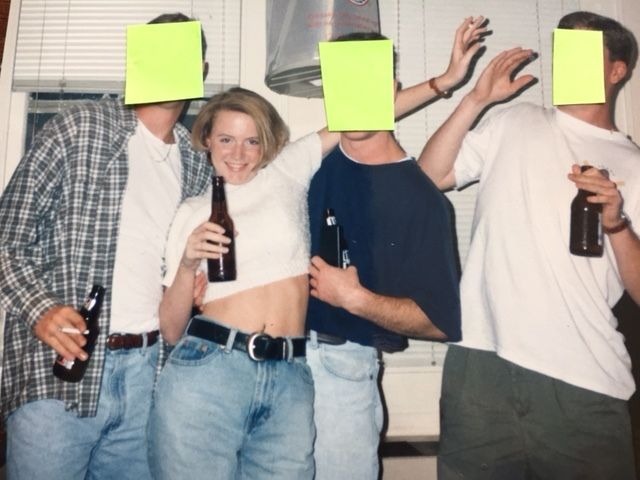 This pretty much sums up college - bare midriff, soaking up whatever attention I could get and almost setting someone on fire with my cigarette.