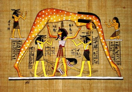 The Egyptian Goddess Nut, whose body, adorned with stars, creates a canopy over Earth.