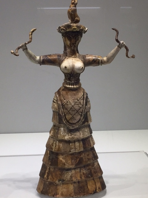 Minoan snake goddess at the Heraklion Archeological Museum.