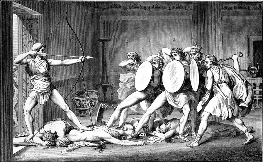 "Odysseus returns home and slays the suitors pursuing his wife and property (Illustration from Schwab, Gustav: ""Die schönsten Sagen des klassischen Altertums,"" 1882)"