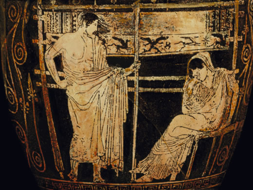 Telemachus, perhaps telling his long suffering mother, Penelope, to shut up