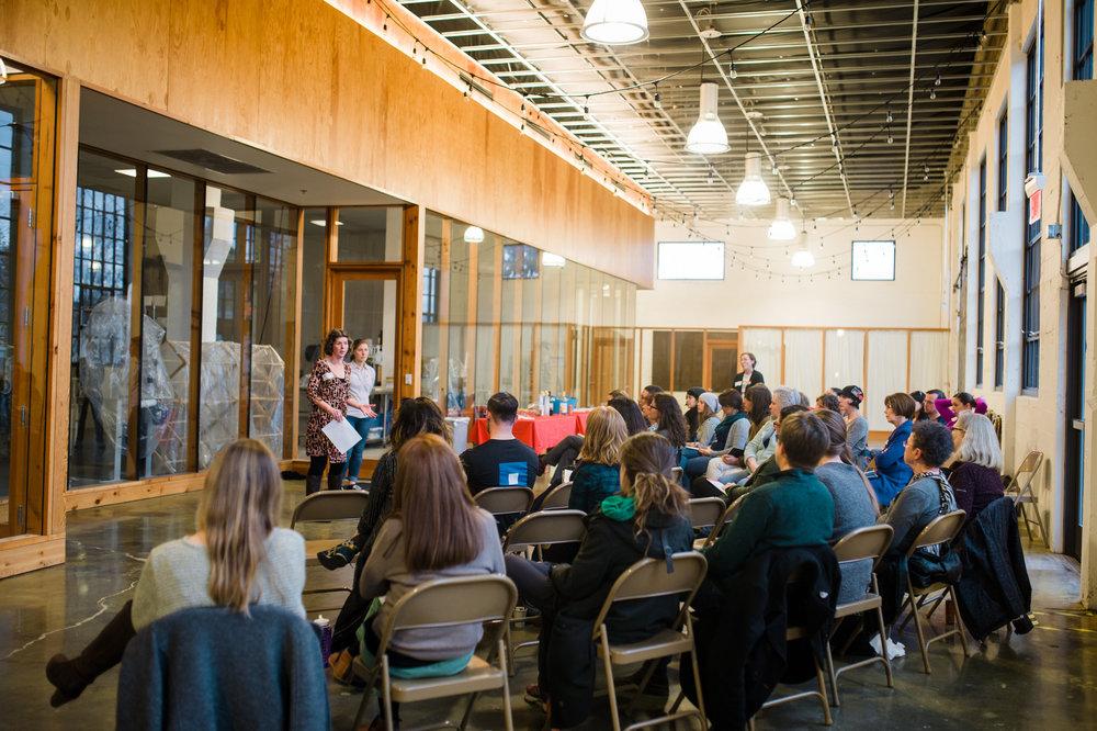 Portland volunteers at a meeting