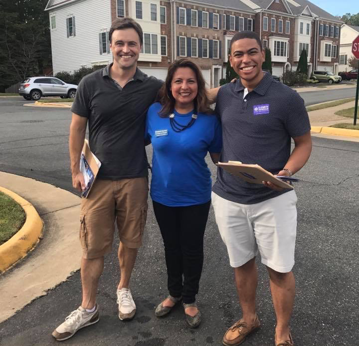 Sister District San Francisco volunteers Drew and Jonte, out canvassing with candidate Elizabeth.