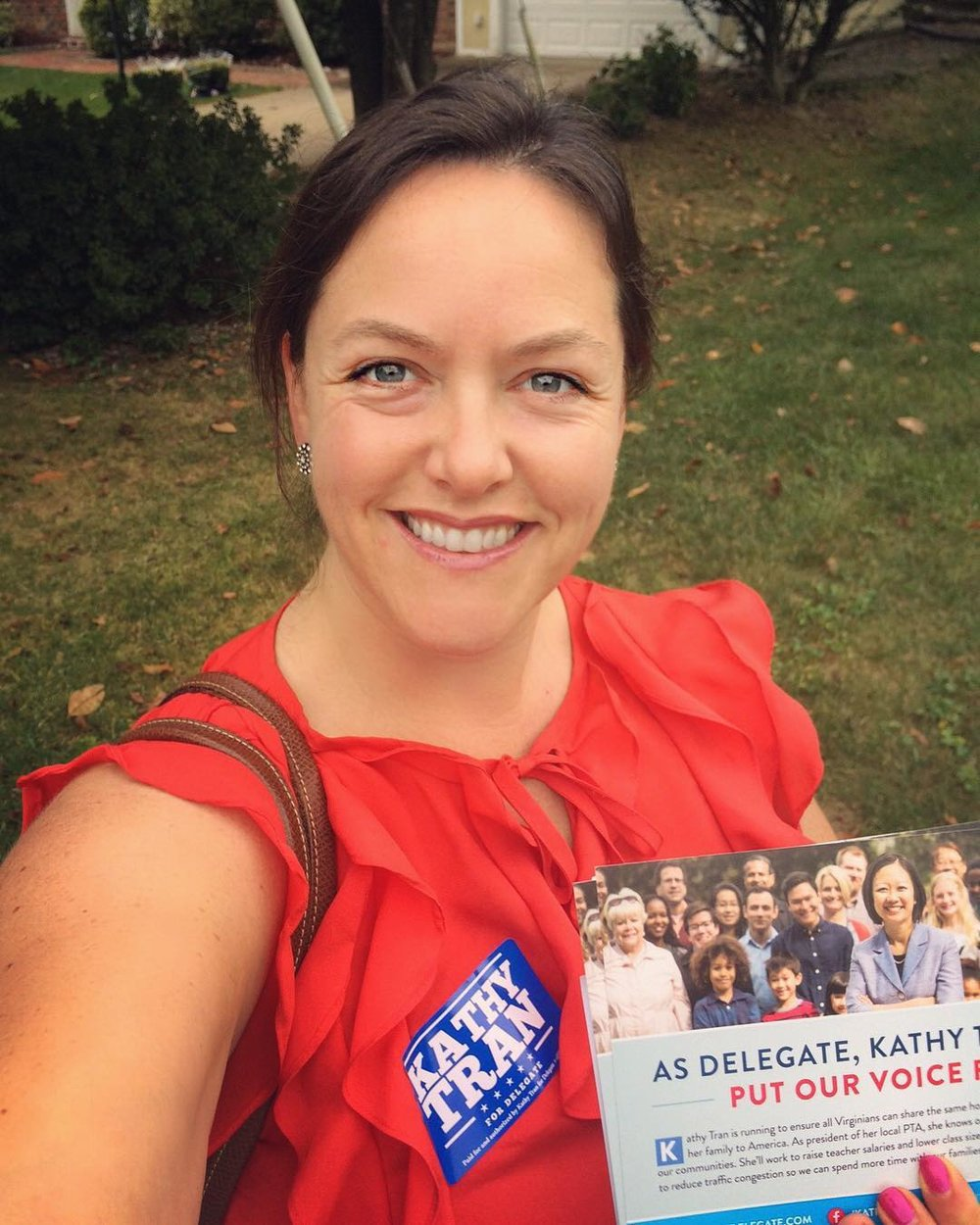 Sister District Berkeley volunteer Keavney canvassing in Virginia for Kathy. And on the right, volunteers share what it's like to phonebank!