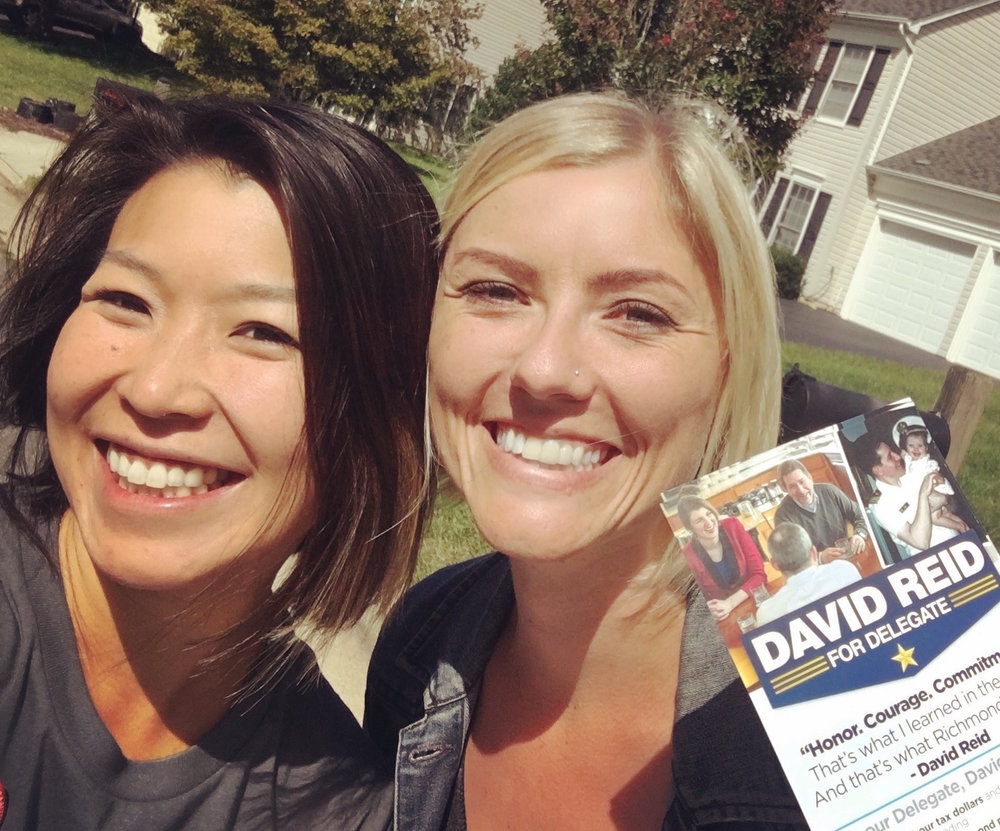 Sister District co-founders Lala Wu and Lyzz Schwegler canvassing for David Reid in Virginia.