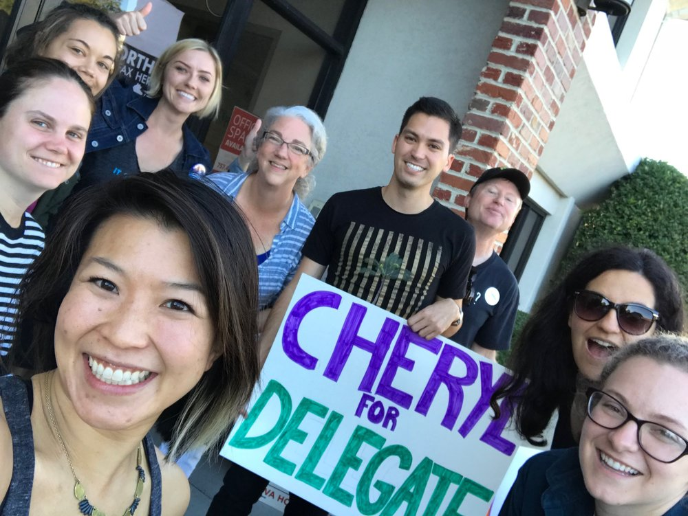 "Sister District co-founders with Cheryl Turpin and her team -- gathering for a quick selfie before heading out to do visibility on a busy corner. Countless folks rolled down their windows as they drove by, yelling out, ""Go, Ms. Turpin, we love you!"""
