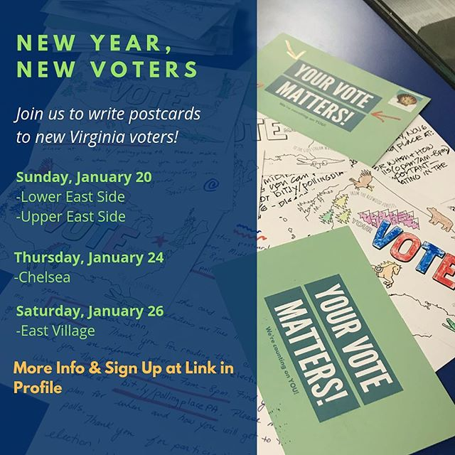New Year, New Voters! We're back and eager to get started this year! Come join us (link in bio)! . . . #sisterdistrict #newyearnewvoters #postcards #newyeargoals #bluewave2019 #wegotworktodo #heyvirginia #virginiavotes #bluewaveVA