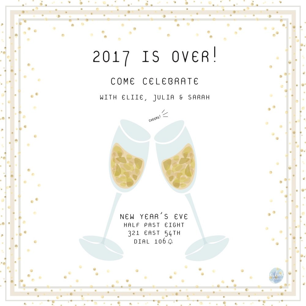 New Year S Eve Party Invitation Mary Tabor Furr