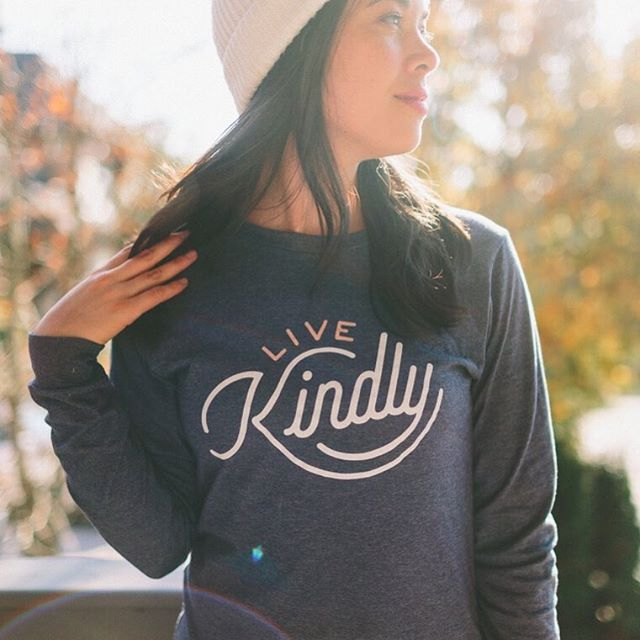 Baby, it's getting cold outside.  Check out our long sleeve Live Kindly tees at https://www.livekindly.com/store/ #winteriscoming #warmth #spreadkindness #kindon