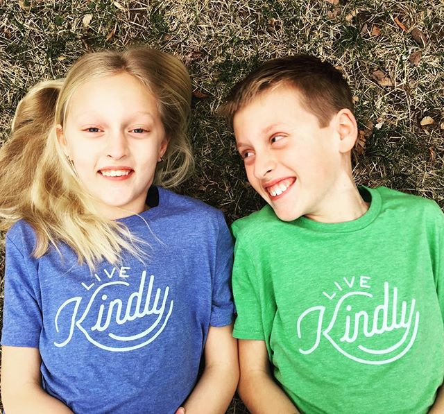 One of our favorite photos.  Love the smiles.  Live Kindly tees for the kiddos. https://www.livekindly.com #smiles #siblinglove #tees  #kindness  #kindon