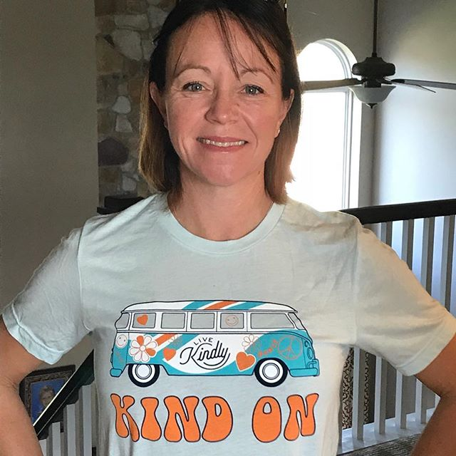 "Some say ""pay it forward"" or ""pass it on."" We like to call it Kind On!  Our new, groovy, Kind On tees are now available.  Shop at https://www.livekindly.com/store/ #kindon #tees #spreadkindness #makeadifference"