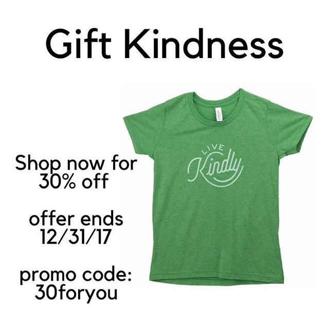 Show your kindness with words and actions.  You can also show it by gifting our super comfy tees.  Help us spread the importance of living a kind life in all you do.  Special promotion runs all month. 30% off your entire order. Plus, we always donate a portion of all sales to our three incredible charities. Shop at https://www.livekindly.com/store/ #kindon #holidays #spreadkindness #tees #volunteer #gift #livekindly
