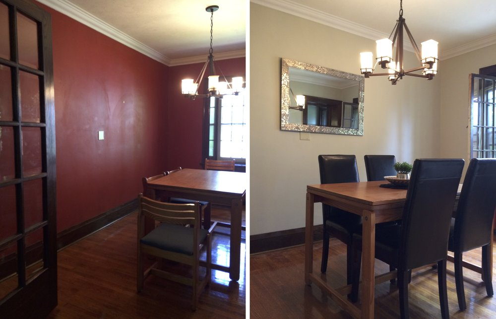 Dining room before and after. We kept the original table and added more elegant chairs.