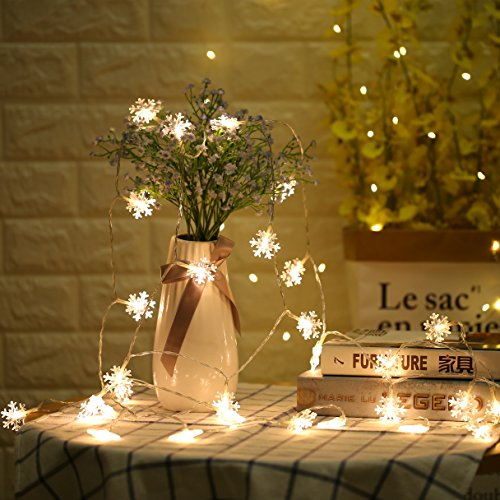 Decorative String Lights Snowflake Warm White 6M 40 LED Battery Operated Remote Control Timing Device Waterproof starfish Shaped Indoor outdoor Used for Christmas  Party  Wedding  New Year Decorations - B076BB7M5R.jpg