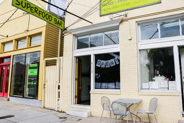 Superfood Bar - Located on Magazine Street, Superfood Bar is my smoothie go-to spot.They have a really great selection of raw salads and cold-pressed juices. Honestly, I really head there for the smoothies, but my friend loves the wraps too.