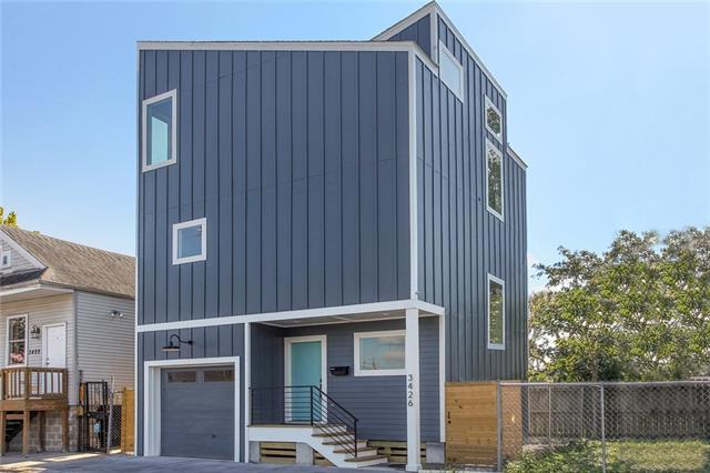 3426 Freret St. - This petite modern packs a lot of punch on its small footprint. What it lacks in outdoor space it makes up for in amenities. The garage is a huge bonus, and there are two potential office spaces. It's the perfect solution for the busy professional who would prefer to come home to a low-maintenance lifestyle.