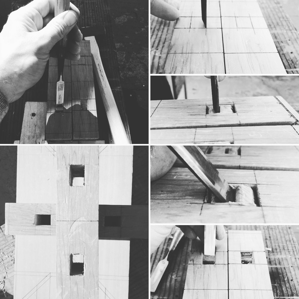 Hand cut Japanese furniture joints require no glue, screws, or fasteners.