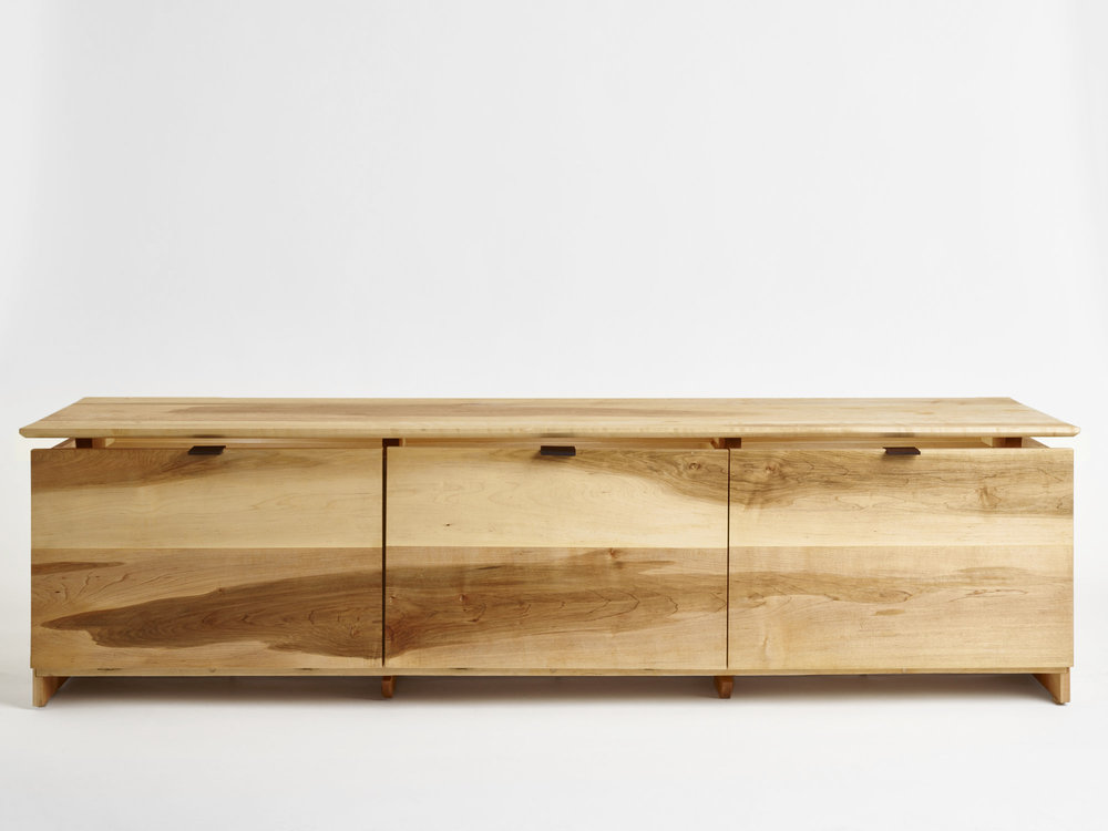 "solid maple body, ebony handles, Port Orford cedar, white oak feet,brass hinges, tung oil and wax finish  70"" x 18"" x 24"""