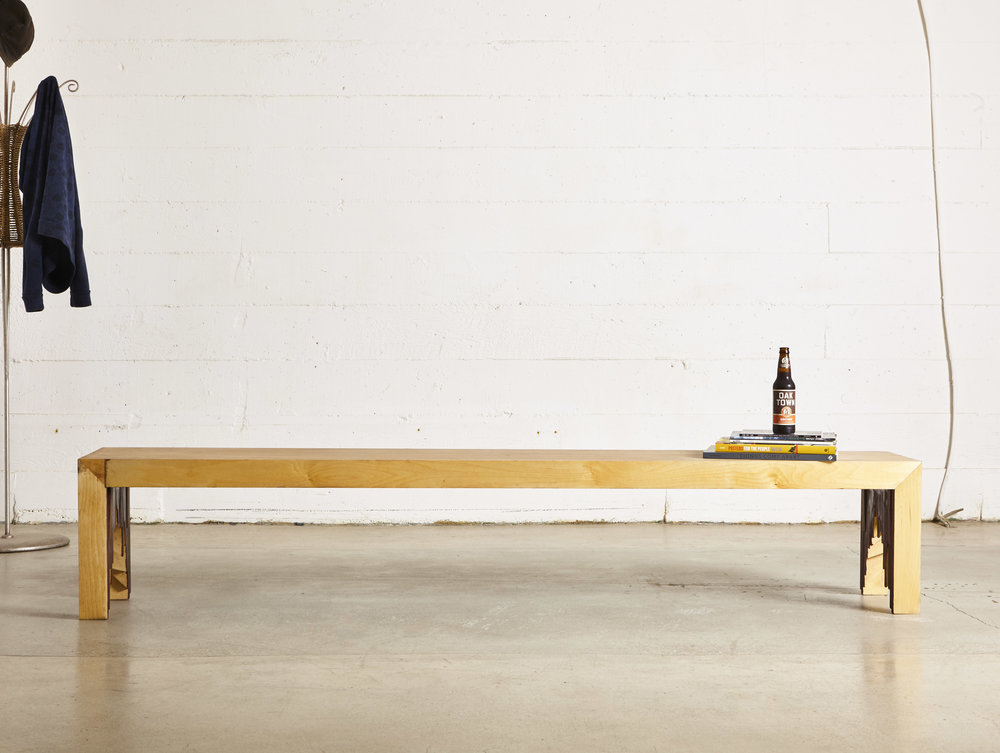 """Sustainable maple plywood with hidden oak tenons  96"""" L x 18"""" W x 17"""" H"""
