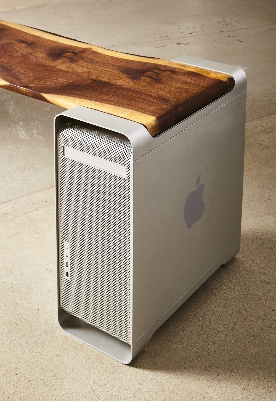 Claro walnut top with repurposed Mac Pro Towers